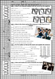 SONG WORKSHEET - STORY OF MY LIFE - ONE DIRECTION