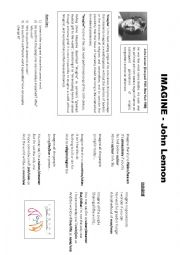 English Worksheet: IMAGINE: JOHN LENNON. SHORT BIOGRAPHY AND SONG