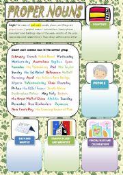 English Worksheet: proper nouns  ( + keys )
