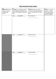 English Worksheet: MEAL Paragraph - Main Idea, Evidence, Analysis and Link