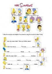 English Worksheet: Simpsons� family members