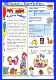 English Worksheet: Happy Birthday(End of Term2 Test 7th form)2Parts: Reading Comprehension+Language+Key.
