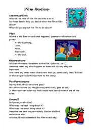 English Worksheet: Film review worksheet