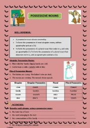 Possessive Nouns (rules and activities)