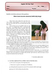 test/ reading comprehension on  body image ( eating disorders/compulsive exercise)