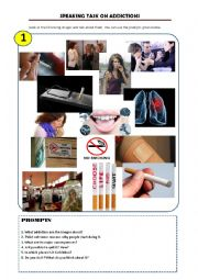 English Worksheet: speaking task 1 - addictions (smoking)
