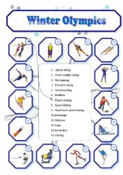 english worksheets winter olympics matching. Black Bedroom Furniture Sets. Home Design Ideas