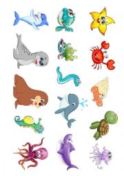 English Worksheet: Sea Animals and their names