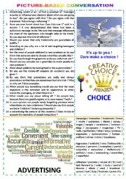 English Worksheet: Picture-based conversation : topic 43 - advertising vs choice