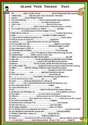 English Worksheet: Mixed Verb Tenses Test