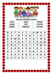 Colors wordsearch and unscramble