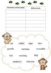 English Worksheet: Starter - Domestic/Wild Animals