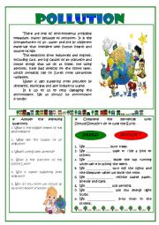 English Worksheet: Pollution - reading comprehension