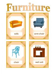 Furniture. Flash-cards.