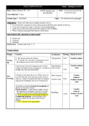 English Worksheet: Lesson plan on writing; The structure of a paragraph