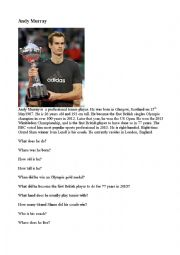 English Worksheet: Andy Murray, Sports, tennis, famous people