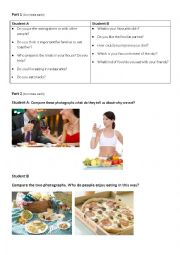 English Worksheet: FCE Speaking Exam Practice:Food