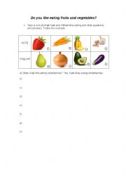 Likes and Dislikes - talking about fruits and vegetables (present simple tense)
