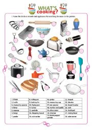 English Worksheet: Kitchen and Cooking Utensils