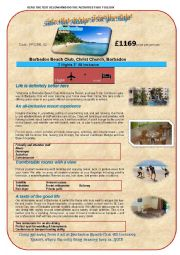 English Worksheet: HOLIDAY ADVERT(1stpart)