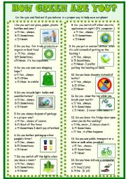 English Worksheet: how green are you / Survey