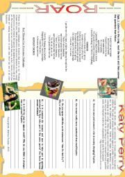 SONG WORKSHEET - ROAR - KATY PERRY