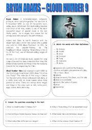 English Worksheet: Bryan Adams - Cloud Number 9