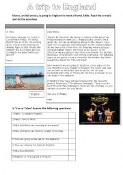 English Worksheet: A trip to England