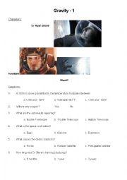 english worksheets comprehension questions for gravity film. Black Bedroom Furniture Sets. Home Design Ideas
