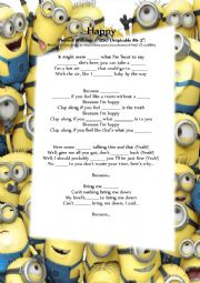 English Worksheet: Happy - Pharrell Williams (BSO from