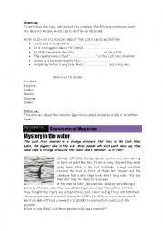 English Worksheet: The Loch Ness Monster Project