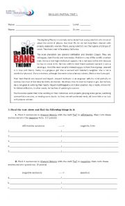 English Worksheet: The big bang theory test