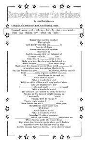 English Worksheet: Somewhere over the rainbow - Song