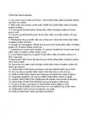 English Worksheet: Survey practicing, both, and, neither, nor, either, or