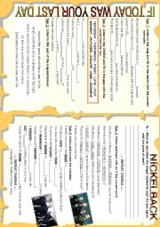English Worksheet: SONG WORKSHEET - IF TODAY WAS YOUR LAST DAY - NICKELBACK