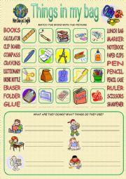English Worksheet: Things in my School Bag