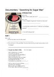 english worksheets searching for sugar man. Black Bedroom Furniture Sets. Home Design Ideas