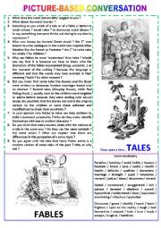 English Worksheet: Picture-based conversation : topic 46 - tales vs fables