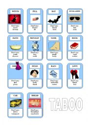 English Worksheet: Taboo!! Great vocabulary game