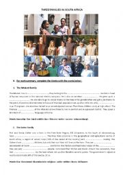 English Worksheet: Three families in South Africa