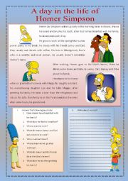 English Worksheet: A day in the life of Homer Simpson