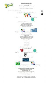 English Worksheet: We are one. World cup 2014- Official song