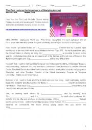 English Worksheet: The First Lady on the Importance of Studying Abroad