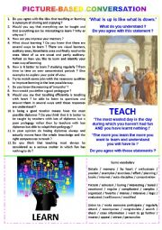 English Worksheet: Picture-based conversation : topic 48 - teach vs learn