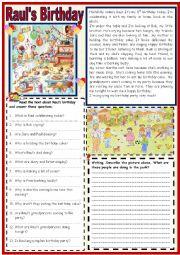 English Worksheet: Raul´s Birthday Party