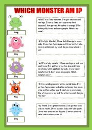 English Worksheet: WHICH MONSTER AM I? - FUNNY MONSTERS� DESCRIPTION :) - FULLY EDITABLE!