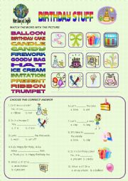 English Worksheet: BIRTHDAY THINGS