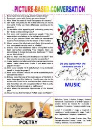 English Worksheet: Picture-based conversation : topic 50 - music vs poetry