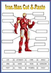 IRON MAN AND HIS BODY PARTS - CUT AND PASTE ACTIVITY!!! FULLY EDITABLE. ENJOY :)