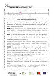 English Worksheet: Earth, wind, fire and water